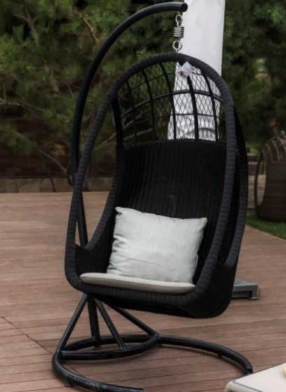 Качели Hangover Black материал Искусственный ротанг, алюминий, всепогодный текстиль